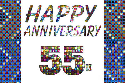 Painting - Happy 55 55th Anniversary Celebrations Design On Greeting Cards T-shirts Pillows Curtains  by Navin Joshi