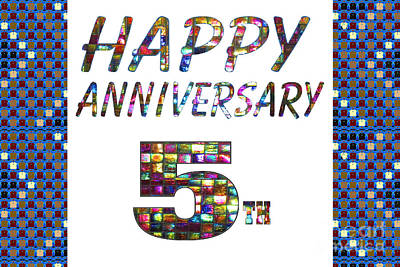 Painting - Happy 5th Fifth Anniversary Celebrations Design On Greeting Cards T-shirts Pillows Curtains Phone Ca by Navin Joshi