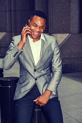 Photograph - Happy African American Businessman Working In New York 15082321 by Alexander Image