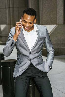 Photograph - Happy African American Businessman Working In New York 15082322 by Alexander Image
