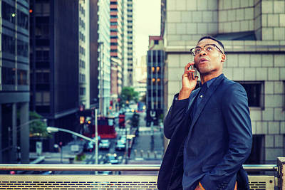 Photograph - Happy African American Businessman Working In New York by Alexander Image
