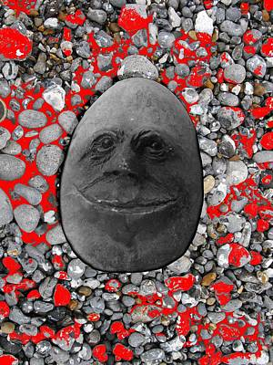 Photograph - Happy Alien Monster Rock Face , Unusual Stone Grey by Tom Conway