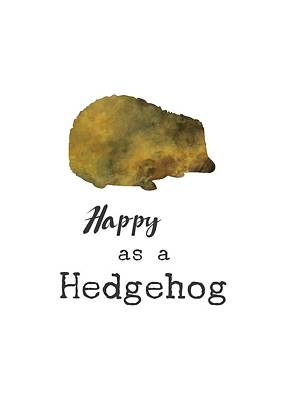 Digital Art - Happy As A Hedgehog by Eleanore Ditchburn