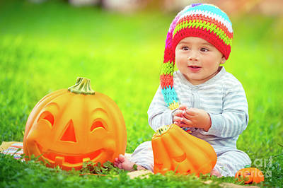 Photograph - Happy Baby Boy On Halloween by Anna Om