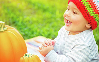 Photograph - Happy Baby On Thanksgiving Day by Anna Om