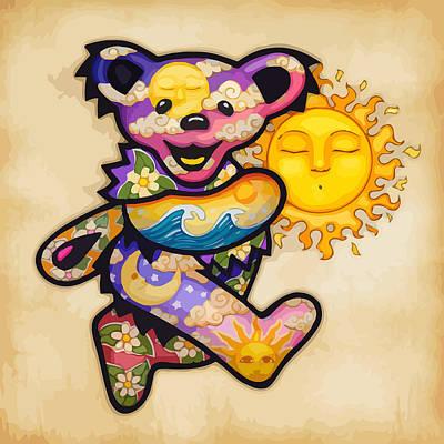 Happy Bear And Sun Art Print