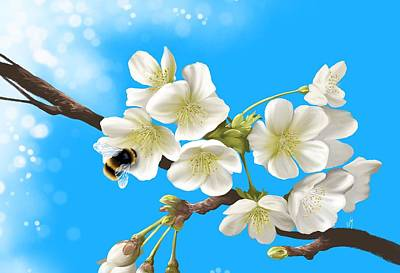 Cherry Tree Painting - Happy Bee by Veronica Minozzi