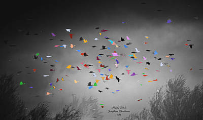 Photograph - Happy Birds   4410 by Josephine Buschman