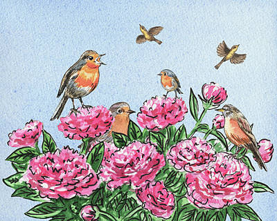 Painting - Happy Birds On Flowers by Irina Sztukowski
