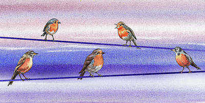 Painting - Happy Birds On The Wire by Irina Sztukowski