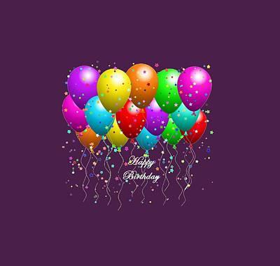 Happy Birthday Balloons Art Print by Debra  Miller