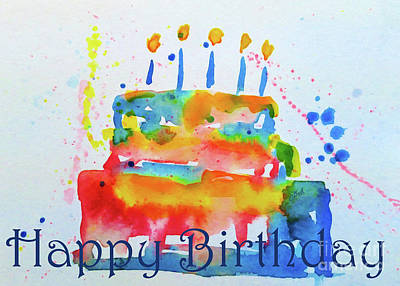 Painting - Happy Birthday Blue Cake  by Claire Bull