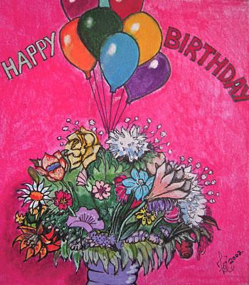 Happy Birthday Boquet Art Print by Zoe Vigil