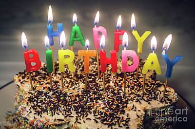 Multi Colored Photograph - Happy Birthday Candles by Carlos Caetano