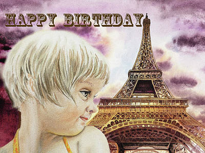 Painting - Happy Birthday French Girl Paris Card  by Irina Sztukowski
