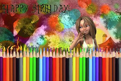 Digital Art - Happy Birthday Girl by John Haldane