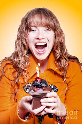 Exuberant Photograph - Happy Birthday Girl With Party Cupcake by Jorgo Photography - Wall Art Gallery