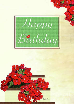Digital Art - Happy Birthday Greeting Card With Red Flowers By Claudia Ellis by Claudia Ellis