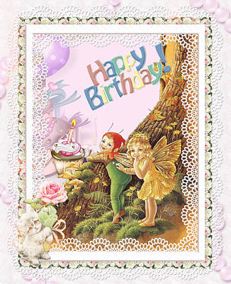 Birthday Cake Drawing - Happy Birthday Greeting With Fairy And And Elf by Ronel Broderick