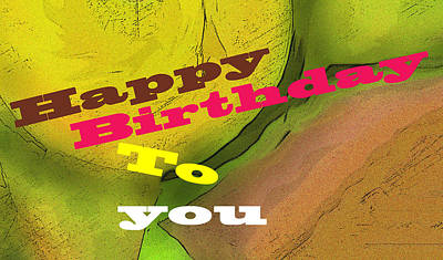 Digital Art - Happy Birthday In Green by Ian  MacDonald