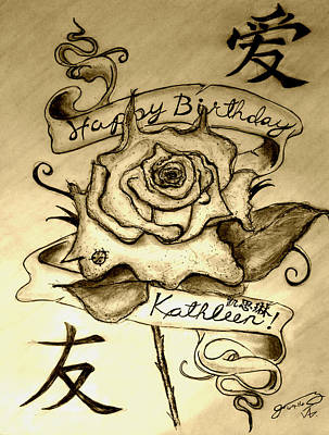 Kathleen Drawing - Happy Birthday Kathleen by Jose A Gonzalez Jr