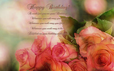 Photograph -  Happy Birthday Roses by Ericamaxine Price