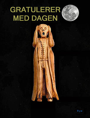 Norway Mixed Media - Happy Birthday Scream Norwegian  by Eric Kempson