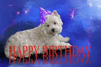 Digital Art - Happy Birthday Westie by Debra Baldwin
