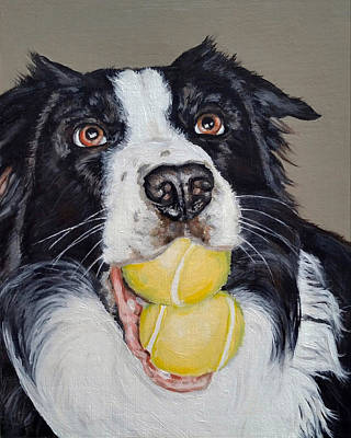Dog With Tennis Ball Painting - Happy Border Collie by Pamela Post