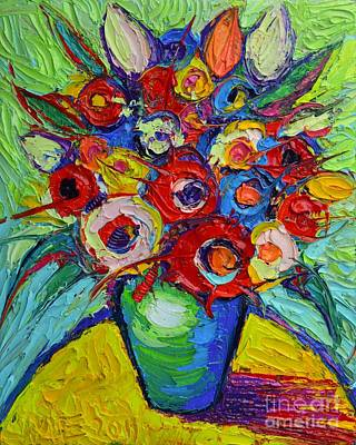 Vivid Colour Painting - Happy Bouquet Of Poppies And Colorful Wildflowers On Round Yellow Table Impasto Abstract Flowers by Ana Maria Edulescu