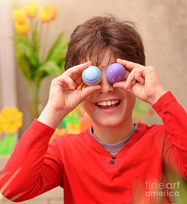 Photograph - Happy Boy Anticipate Easter by Anna Om