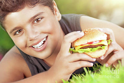 Photograph - Happy Boy Eating Burger by Anna Om