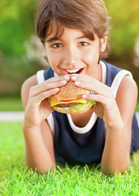 Happy Boy Eating Burger Art Print by Anna Om