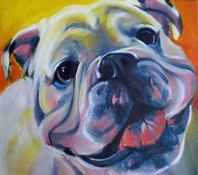 Bulldog Oil Painting - Happy Boy by Kaytee Esser