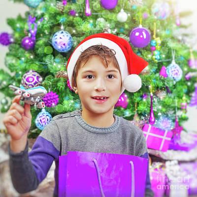 Photograph - Happy Boy Near Christmas Tree by Anna Om