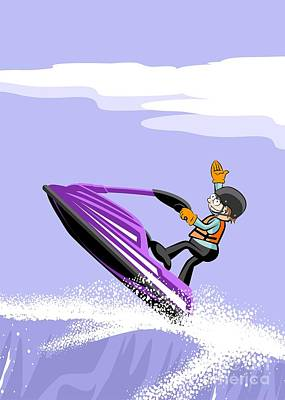 Motor Digital Art - Happy Boy Sailing Among The Waves On A Violet Jet Ski by Daniel Ghioldi