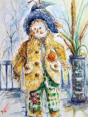 Painting - Happy Boy Scarecrow by Bernadette Krupa