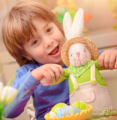 Photograph - Happy Boy With Easter Bunny by Anna Om