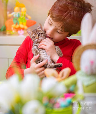 Photograph - Happy Boy With Little Cat by Anna Om