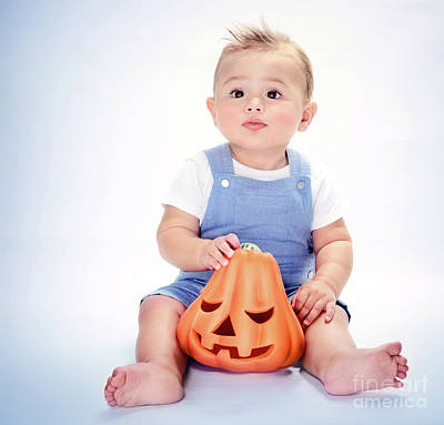 Photograph - Happy Boy With Pumpkin by Anna Om