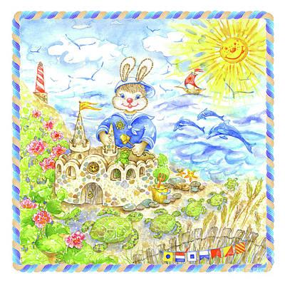 Wall Art - Painting - Happy Bunny Building Castle by Svetlana Titarenko