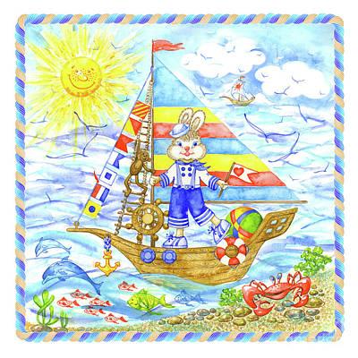 Wall Art - Painting - Happy Bunny On The Boat by Svetlana Titarenko