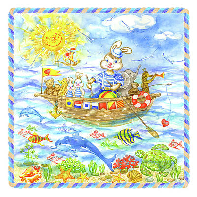 Wall Art - Painting - Happy Bunny With Friends On The Boat by Svetlana Titarenko