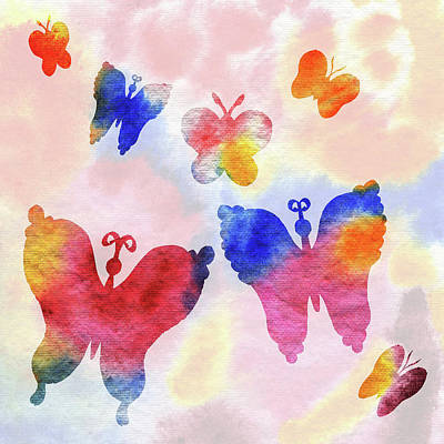Painting - Happy Butterflies Silhouettes  by Irina Sztukowski