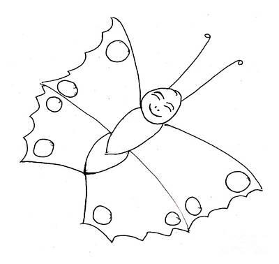 Drawing - Happy Butterfly by Sophia Landau