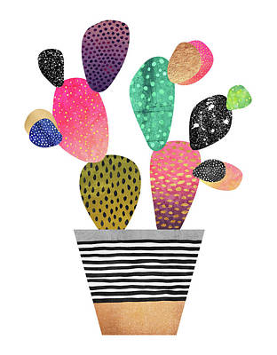Planter Wall Art - Digital Art - Happy Cactus by Elisabeth Fredriksson