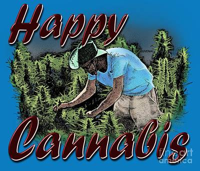 Drawing - Happy Cannabis by Joseph Juvenal