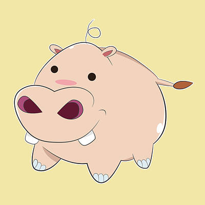 Happy Cartoon Baby Hippo Original by Catifornia Shop