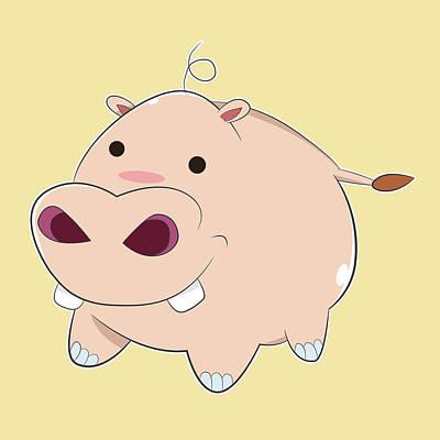 Hippopotamus Digital Art - Happy Cartoon Baby Hippo by Catifornia Shop