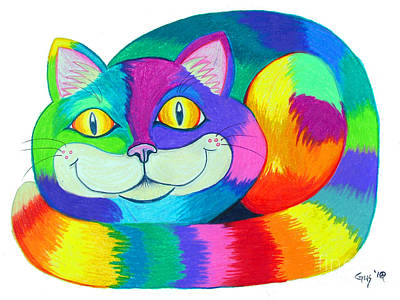 Fun Cats Drawing - Happy Cat by Nick Gustafson
